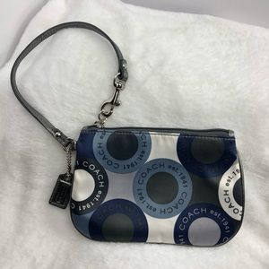 COACH Sateen Wristlet with Silver Leather Trim